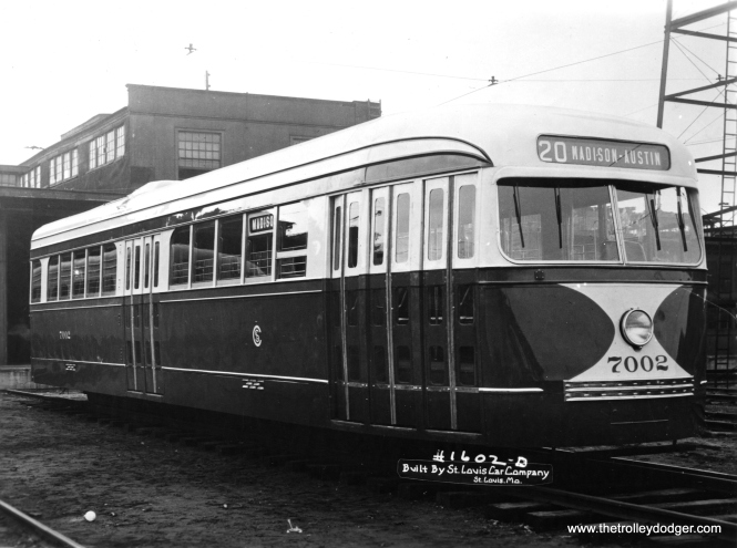 A builder's photo of CSL PCC 7002, the first car delivered in 1936.