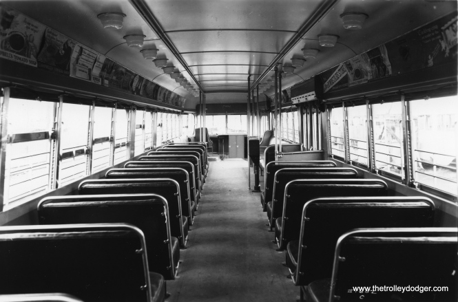 The interior of PCC 7002 as delivered. (St. Louis Car Company Photo)