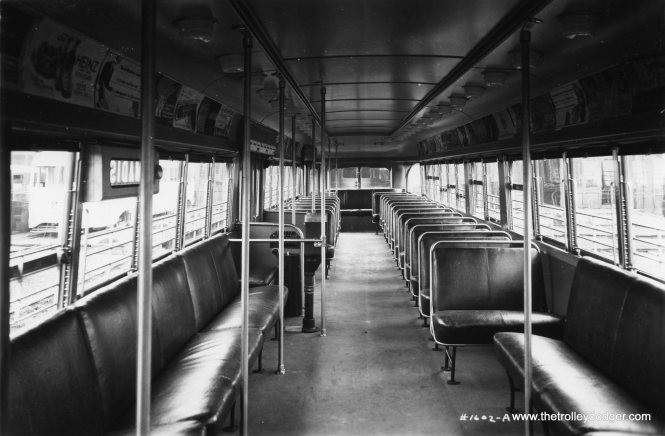 The interior of PCC 7002. (St. Louis Car Company Photo)