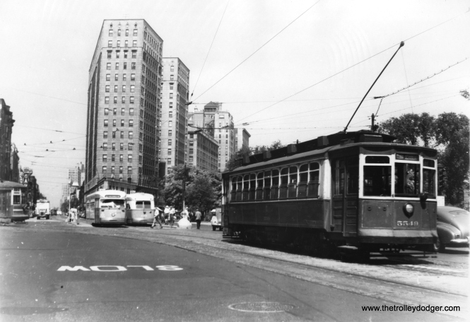 Red car 5549 and a couple of PCCs are on Clark and Armitage. (Edward Frank, Jr. Photo)