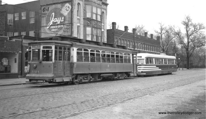 CSL cars 5324 and 4008 on 64th just west of Stony Island in the 1940s. This was the east end of the 63rd Street line. (Joe L. Diaz Photo)