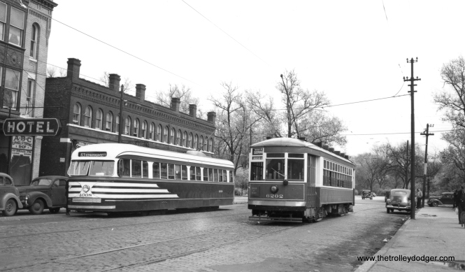 CSL cars 4008 and 6202 on 64th just west of Stony Island in the 1940s. This was the east end of the 63rd Street line. (Joe L. Diaz Photo)