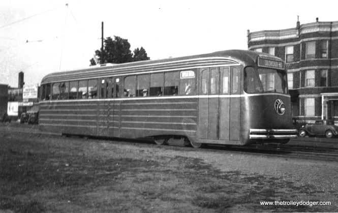 There were three experimental streetcars built during the development of the PCC car, the CSL 4001 and 7001 and this car, the PCC Model B, shown here being tested in Chicago. The destination sign says South Chicago and 93rd. (Railway Negative Exchange Photo)