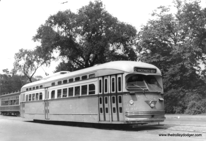 Postwar PCC 7102 southbound on Clark along Lincoln Park. (Heier Industrial Photo)