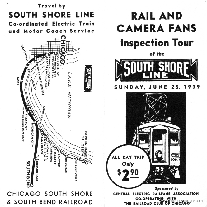 This brochure is for CERA fantrip #9, which included not only the South Shore Line but the Northern Indiana Railway.