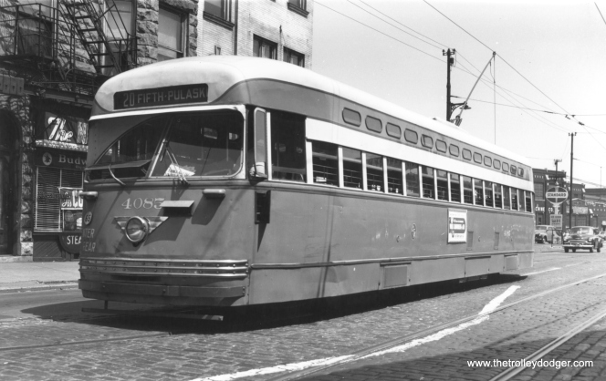 CTA 4085 westbound at Fifth Avenue and Pulaski on August 9, 1950. Madison-Fifth was a branch line from route 20. Today, this location is just south of the Eisenhower expressway. Thomas H. Desnoyers Photo, Krambles-Peterson Archive)