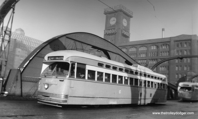 CTA 4151, still wearing a CSL badge, heads south on the Clark Street bridge over the Chicago River in March 1948. (Harold A. Smith Photo)