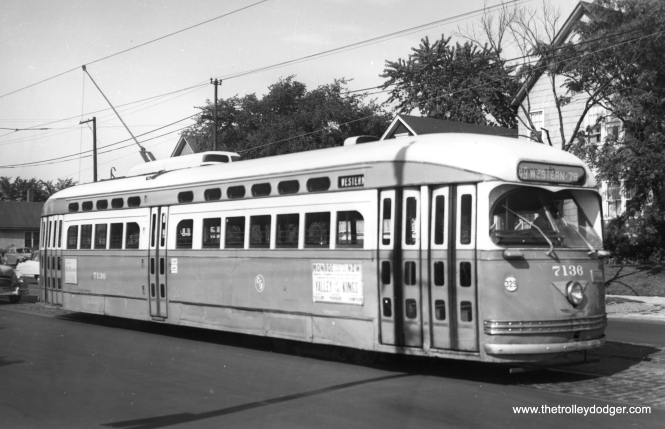"The caption on this picture of CTA 7136, taken in August 1954, says it is at the end of the Western Avenue line, but does not say which end. George Trapp writes, ""I believe car 7136 is a pull out from Devon Depot slightly north of the Berwyn loop, pull outs did carry passengers."" Another reader says this car is southbound on Western at Winona, which is one block south of Foster (and a few blocks south of the Berwyn loop)."