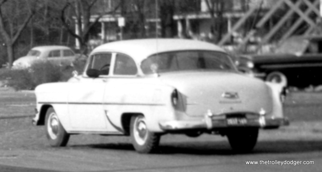 A close-up of the last shot. According to William Barber, this is a 1954 Chevrolet model 210.