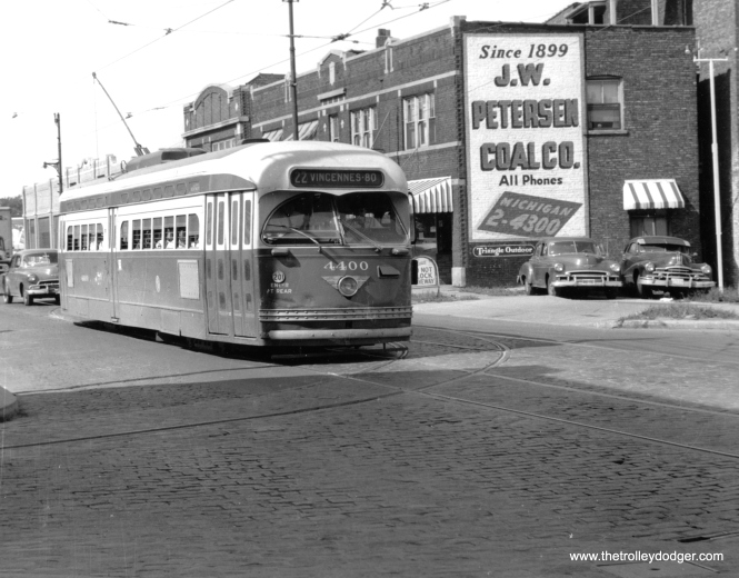 CTA 4400 southbound on Clark at Arthur, August 15, 1956. (John F. Bromley Photo, M. D. McCarter Collection)