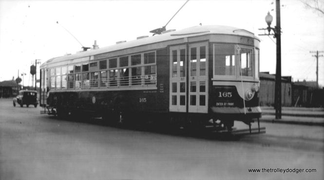 C&WT 165 on February 23, 1939. This car has already been repainted into the familiar blue and white colors.
