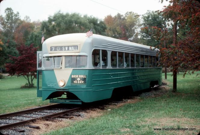 DC Transit pre-PCC streamlined streetcar at the National Capital Trolley Museum in 1993. Part of a 20-car order in 1935, split between Brill and St Louis Car Company. This is a St. Louis Car Company product. Sadly this car was lost to a carbarn fire at the museum in 2003. (John Smatlak Photo)
