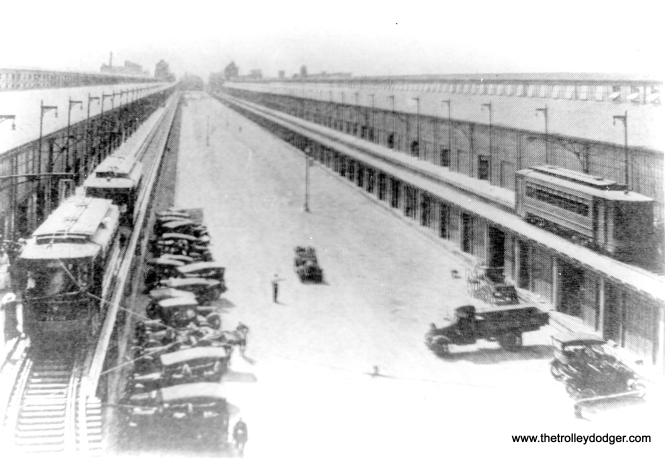 The east end of Navy Pier in early days, showing how streetcars originally ran on an upper level.