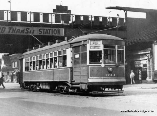 "Geroge Trapp writes, ""Car #1744 (is) on Western at Ravenswood ""L"" just south of Leland."" This station was completely rebuilt circa 1979-81."