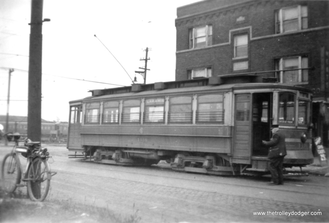 CSL 1416 at Laramie and Harrison. The Chicago Rapid Transit Company's Laramie Yard is visible at rear. We are looking to the southwest. The building at rear is still there today.