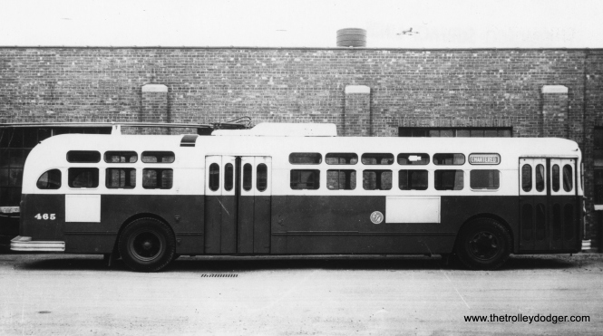 CTA trolley bus 465. (Railway Negative Exchange Photo)