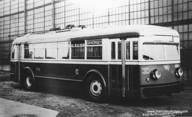 A St. Louis Car Company builder's photo of trolley bus 172. (Railway Negative Exchange Photo)