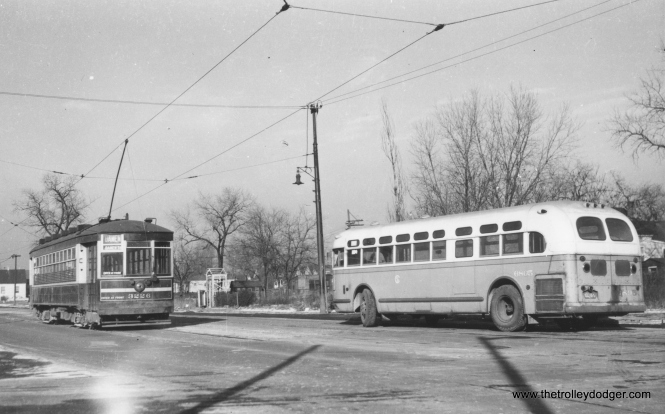 "George Trapp: ""CSL #3226 is at South end of South Damen streetcar line, bus 6805 is on the shuttle bus extension to 87th Street."" (Railway Negative Exchange Photo)"