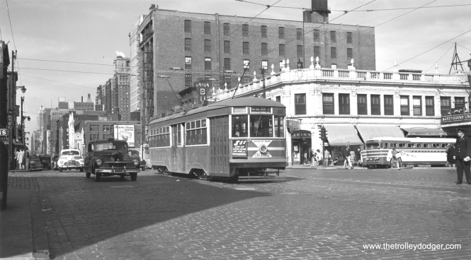 "CSL Sedan 3332 southbound at Wabash and Roosevelt on September 27, 1947. Note the Greyhound bus at right. (Thomas H. Desnoyers Photo, Krambles-Peterson Archive) Allen Breyer: ""Also shows the old Union Bus Terminal behind the Greyhound."""