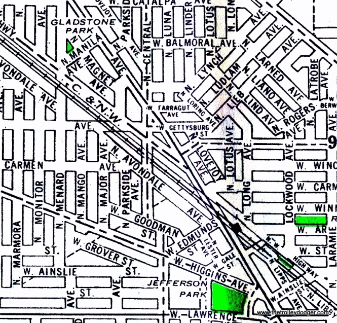 Here is a 1940s map of the area around Central and Avondale on Chicago's northwest side, where the Surface Lines had a temporary open-air trolley bus yard parallel to the Chicago & North Western starting in 1943. It was replaced by the Forest Glen garage in 1955. This area is now occupied by the Kennedy expressway.