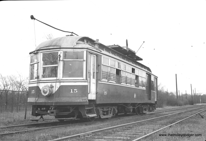 C&WT line car 15, with its famous bent pole. The defect was apparently accidental, but it was certainly distinctive.