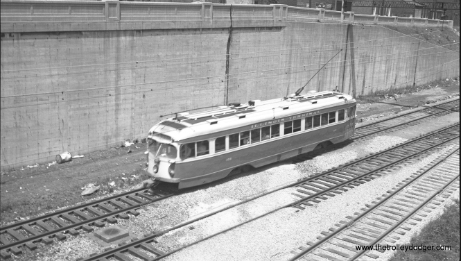 IT double-end PCC 455 at speed in St. Louis on May 18, 1951.