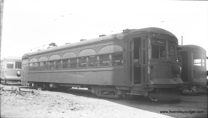 CO&P #66 at the Ottawa Shops in 1934, presumably at the time of abandonment. It was built by St. Louis Car Company in 1924. Some cars in this series were rebuilt for use on the rest of the Illinois Terminal system, including IT 415 (former CO&P 64) which is now at the Illinois Railway Museum.