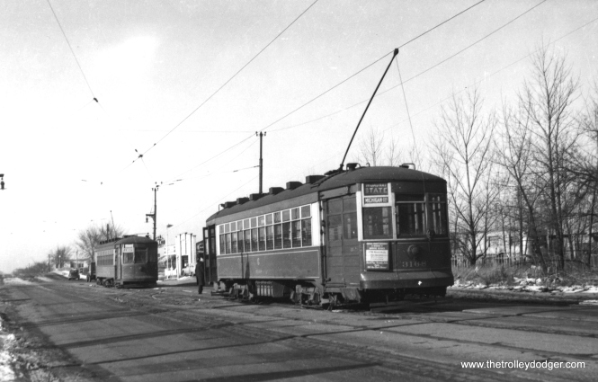 "George Trapp: ""CSL #3168 is at Devon and Kedzie,"" signed for route 36 - Broadway-State. He continues, ""photo taken after CTA takeover as evidenced by ad on 3168, probably just before Broadway-State cut back to Ravenswood Avenue. Notice all the open land in the area, CTA could have built a loop for PCC cars if they had wanted."" (Railway Negative Exchange Photo)"