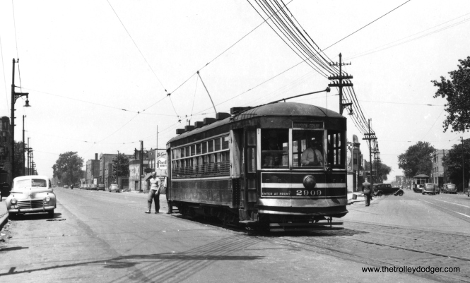 CSL 2909, signed for Division and Grand. Since it is on an angle street, this may be Grand Avenue. (Railway Negative Exchange Photo)