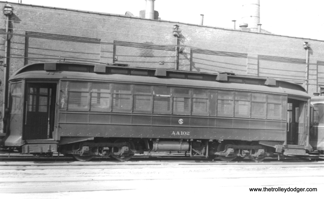 CSL salt spreader AA102, formerly car #2851, retired on 8/10/1951 and scrapped in 1952. (Heier Industrial Photo)