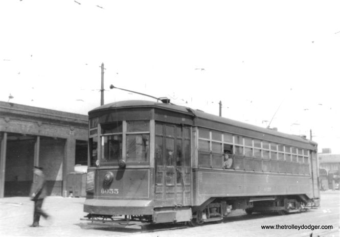 "George Trapp: ""CSL #6055 is on Route 17 in front of Kedzie Depot."" (Heier Industrial Photo) Through route 17 was Kedzie and ran from 1911 to 1949."