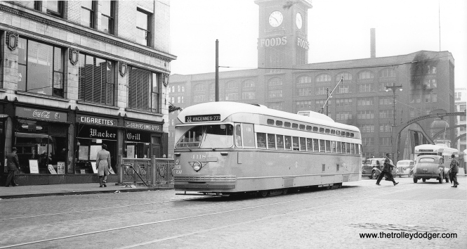CSL 4118 southbound on Clark at Wacker, June 13, 1947. (J. William Vigrass Collection)