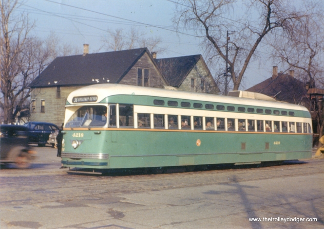 CTA 4218 at State and 95th on April 4, 1948 (route 36 - Broadway-State). (John F. Bromley Collection)