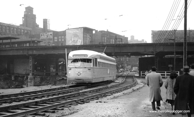 "CTA 4208 on a shoofly at Halsted and Congress circa 1950-51, during the early stages of construction on the Congress Expressway. Two of the four Metropolitan ""L"" tracks were removed in this area, since they were in the expressway footprint. (M. D. McCarter Collection)"