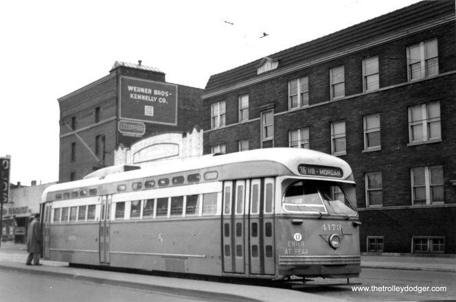 CTA Pullman PCC 4173 on the long Broadway-State route. The building at rear advertises the Werner Brothers - Kennelly moving and storage firm, owned by Martin H. Kennelly, Chicago's mayor from 1947-55. This picture was taken in January 1951.