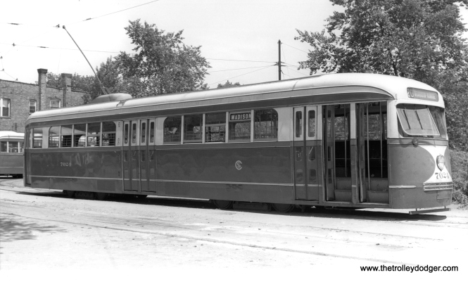 7024 at Madison and Austin on July 16, 1938. (M. D. McCarter Collection)