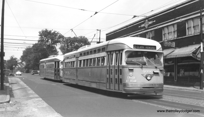 CSL 4090 and follower at 81st and Halsted, south end of the Clark-Wentworth line, circa 1947.