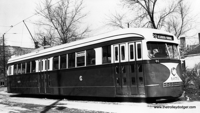 "CSL 4051 at the Madison and Austin loop on February 22, 1942. This car had previously been modified with an experimental door arrangement later used on the 600 postwar Chicago PCCs. By the time this picture was taken, it had been partially returned to its original configuration. As John Bromley notes, ""The car is not yet fully restored after the rear entrance experiment. It's missing one front door and is thus in a hybrid state."" (James J. Buckley Photo, Krambles-Peterson Archive)"