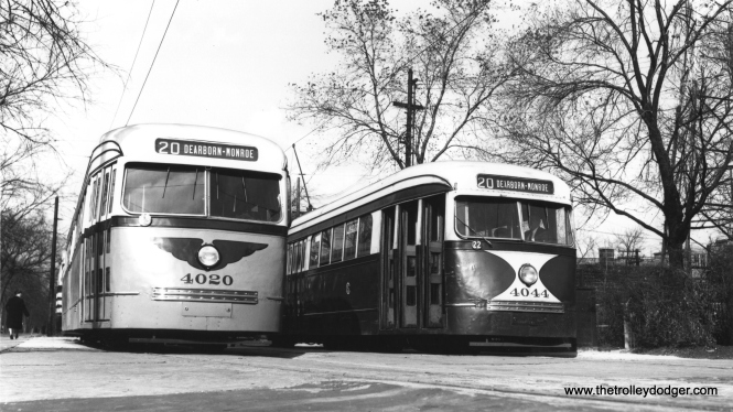 CSL 4020 and 4049 at Madison and Austin on November 7, 1945, showing off contrasting paint schemes (4020's is experimental). These experiments eventually led to the adoption of the well-known combination of Mercury Green, Croydon Cream, and Swamp Holly Orange. (Joe L. Diaz Photo)