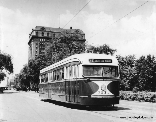 "CSL 7034 eastbound at Madison and Hamlin in July 1937. The tall building at rear is still there. (CSL Photo) Marty Robinson adds, ""The tall building is the Midwest Hotel, which housed the studio of WNIB in the attic. I was a program host there in 1957."""