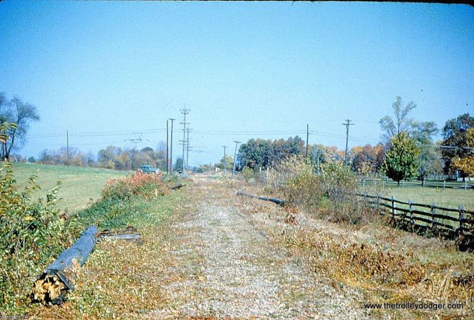 Lehigh Valley Transit Co. Liberty Bell Route right-of-way at Acorn Siding one year after abandonment, looking north in 1952.