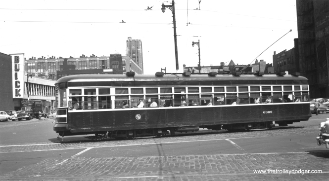 CTA 6309 is southbound on Cottage Grove at Cermak on August 1, 1950. (Thomas H. Desnoyers Photo, Krambles-Peterson Archive)