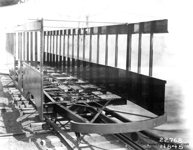 From the numbers on this photo, I'd say it shows one of the CSL Sedan frames at the J. G. Brill factory in 1929.