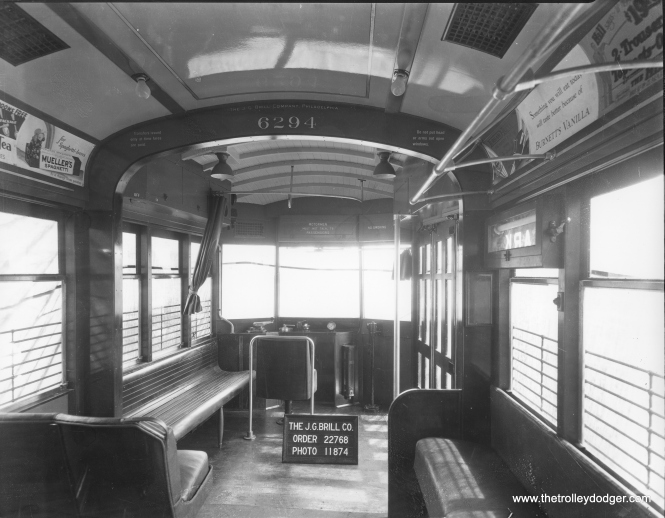 "The interior of CSL 6294 as new, in a 1929 photo at the J. G. Brill plant. Brill built 33 of the 100 ""Sedans,"" aka Peter Witts."