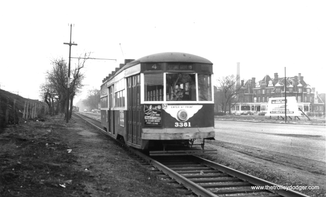 CTA 3381 at Cottage Grove and 111th, near the south end of route 4, on February 2, 1952. The landmark Hotel Florence is in the background, in Chicago's Pullman neighborhood. (Thomas H. Desnoyers Photo, Krambles-Peterson Archive)
