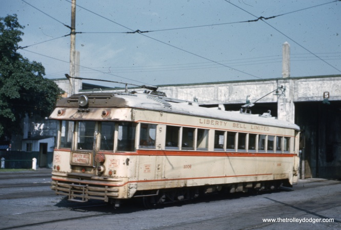LVT 1006 making a backup move, which these single-ended cars had to do on a regular basis in Allentown. This must be near the end of service in 1951 as evidenced by the premature corrosion on the car (caused by electrolysis between the steel and aluminum plates it was built with).