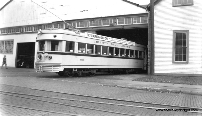 Prior to being put into service on the Liberty Bell Limited in September 1941, LVT 1030 made the rounds throughout the system.  Note the sign advertising this new club car.  This may be Easton, usually the territory of the Easton Limited, LVT's other interurban.  Notice the difference in the shape of the rear end (curved) vs. that of the ex-Cincinnati & Lake Erie cars that LVT had (squared off).  That is because 1030 was originally Indiana Railroad car 55, and the IR lightweight high-speeds could be operated in multiple units and hence needed more clearance in back for turns.