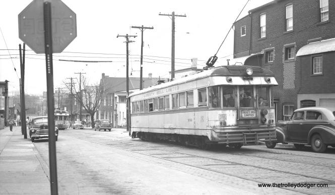 LVT 1020 and 1002 on Washington Street on an April 1, 1951 fantrip.  If you look closely, you will see lots of fans with their cameras on both cars.