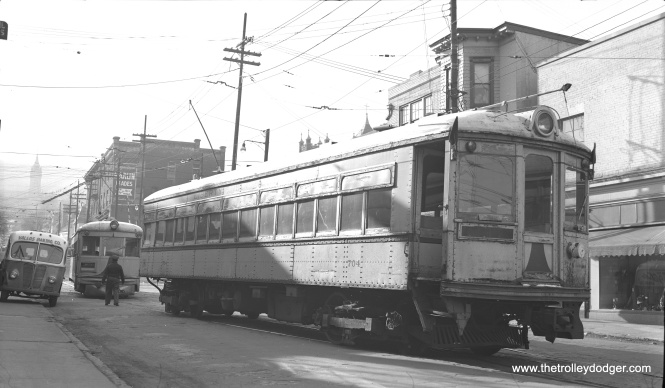 LVT 704 and 1020 taking their last trip on the way to the Bethlehem Steel scrap line, on New Street near 3rd Street in Bethlehem on January 8, 1952, four months after service ended on the Liberty Bell Limited interurban. Some cars had to be towed, but these at least were still able to move on their own.
