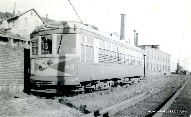 Jamestown (NY) Street Railway car 82, built by St. Louis Car Company in 1917, was sold to Lehigh Valley Transit in 1938 as part of their modernization program, where it was renumbered into the 400-series.